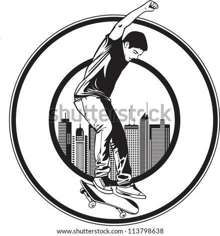 A teenager playing skateboard on street - stock vector