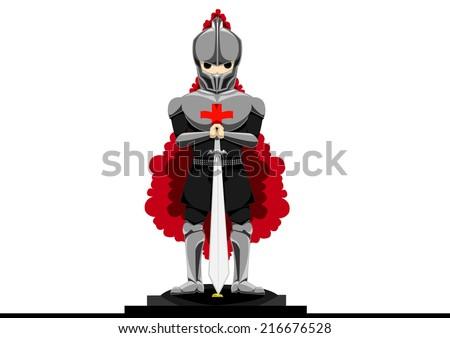 A Templar knight holding a sword - stock vector