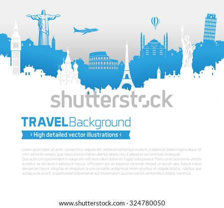 A Template of a page with famous monuments and buildings skyline from all over the world. - stock vector