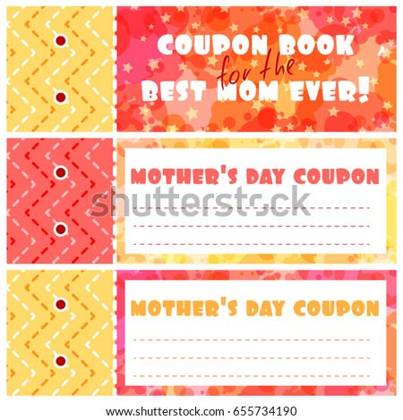 Template Coupons Book Mothers Day Cover Stock Vector 655734190 ...