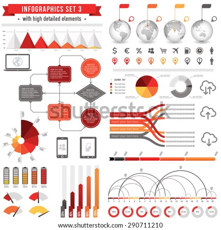 A Template set for infographics with: Bar charts, Graphs, Pie Charts, Detailed World Globes, Flow charts, Story Line Templates and much more - stock vector