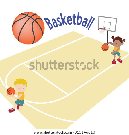 A template with two kids playing basketball in a basketball court. - stock vector