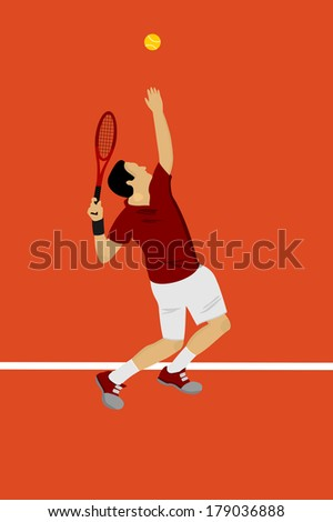 a tennis player serving - stock vector