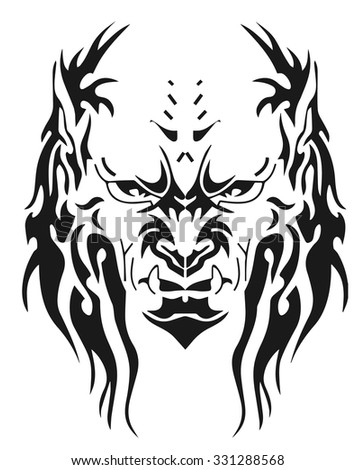 A terrible fanged monster - stock vector