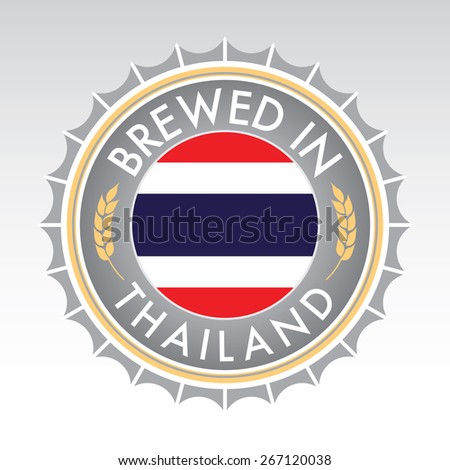 A Thai beer cap crest in vector format. The bottle cap features the Thai flag flanked by two golden wheat icons. - stock vector