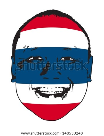 A Thailand flag on a face, isolated against white.  - stock vector