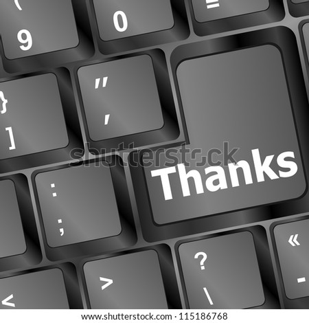 a thanks message on enter key of keyboard - stock vector