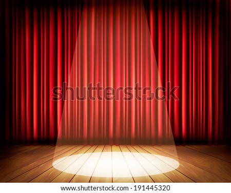 A theater stage with a red curtain and a spotlight. Vector. - stock vector