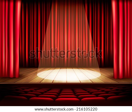 A theater stage with a red curtain, seats and a spotlight. Vector. - stock vector