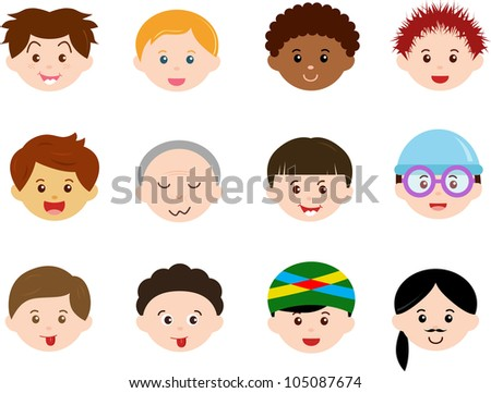 A Theme of cute vector Icons : Heads of Boys, Men, Kids (Male Set) Different ethnics, isolated on white background - stock vector