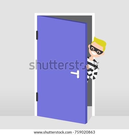 Hiding Behind Door Stock Images Royalty Free Images