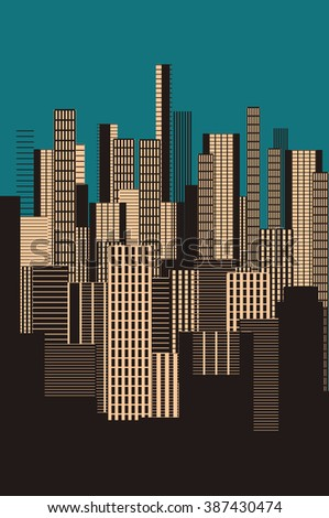 a three colors graphical abstract urban landscape poster in blue