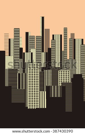a three colors graphical abstract urban landscape poster in sepia