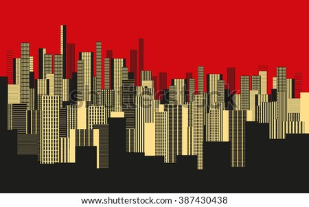 a three colors graphical abstract urban landscape wallpaper in red