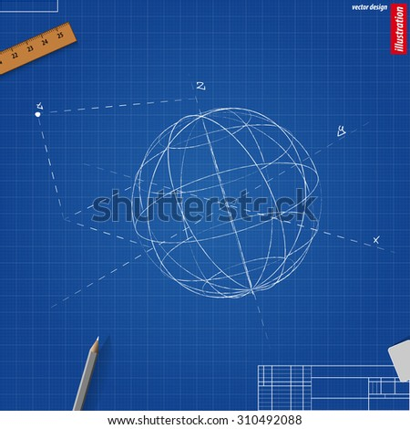 A three-dimensional coordinate axis on blueprint. Vector illustration eps 10
