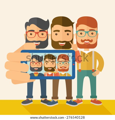 A three happy men taking a selfie using smartphone. A Contemporary style with pastel palette, soft beige tinted background. Vector flat design illustration. Square layout. - stock vector