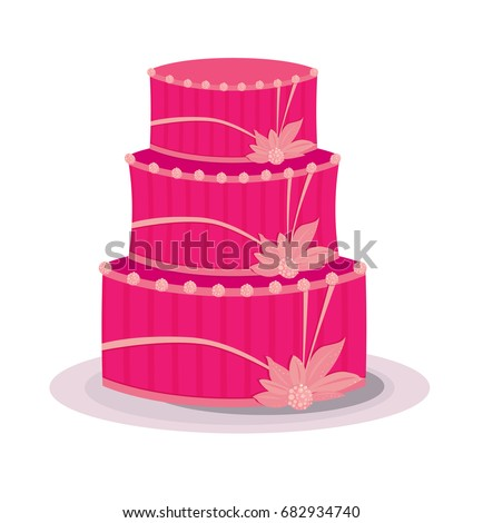 A three level pink cake with abstract flowers and dots as decorations
