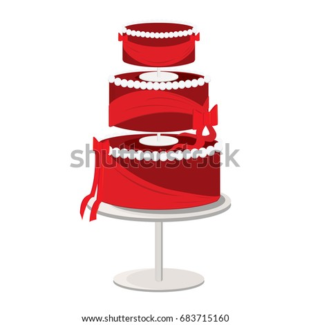 A three tier elegant cake with red frosting and sweeping bows
