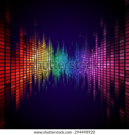 A Tiled Rainbow colored equalizer effect. - stock vector