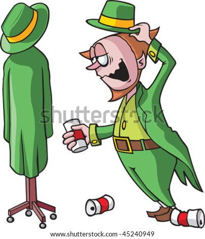 A tipsy cartoon Leprechaun talking to a coat rack. Leprechaun, coat rack and beer cans are all on separate layers. - stock vector