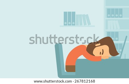 A tired Caucasian sitting on the chair sleeping over the laptop at workplace - stock vector