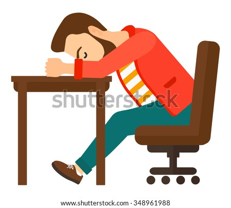A tired young hipster man with the beard sleeping on table vector flat design illustration isolated on white background. Square layout. - stock vector
