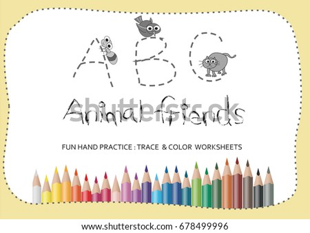 A To Z Alphabet Tracing Worksheetscartoon Coloring Book For Kids Animal Drawing