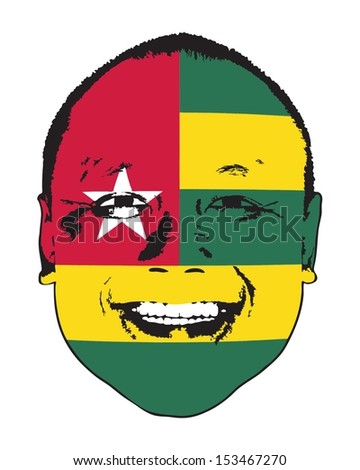 A Togo flag on a face, isolated against white.  - stock vector