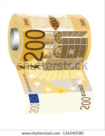 A toilet paper roll of 200 euro banknotes, symbolizing the careless spending of money. - stock vector