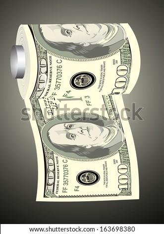 A toilet paper roll of hundred dollar bills on a dispenser, symbolizing the careless spending of money - stock vector