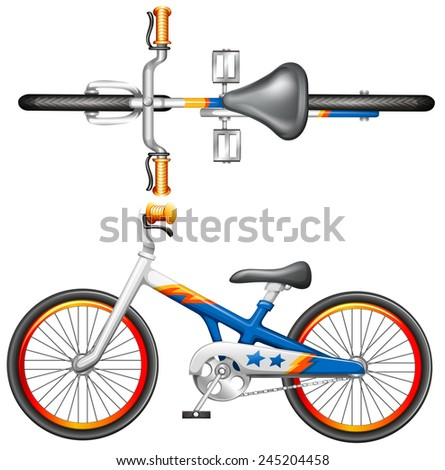 A top and side view of a bicycle on a white background - stock vector