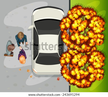 A topview of the people at the street near the parked vehicle - stock vector