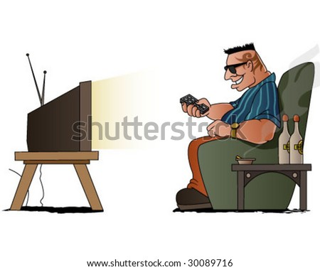 a tough man delighted by TV show - stock vector