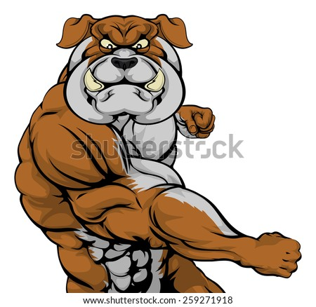 A tough muscular bulldog mascot character in a fight punching