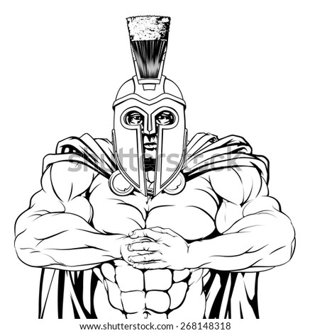 A tough muscular spartan or trojan mascot character getting ready for a fight - stock vector
