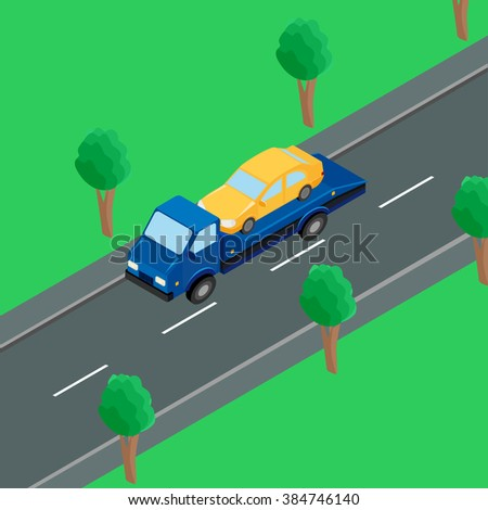 a tow truck carrying a car on the road - stock vector