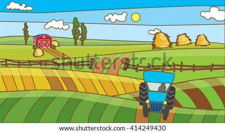 a tractor in the field farm flat landscape. stock vector