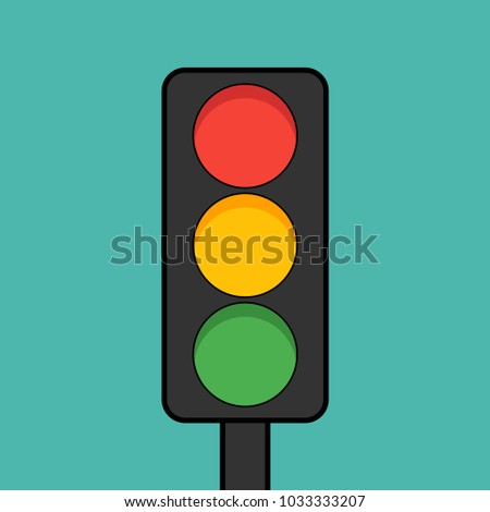 A traffic light in a flat style. Cartoon style