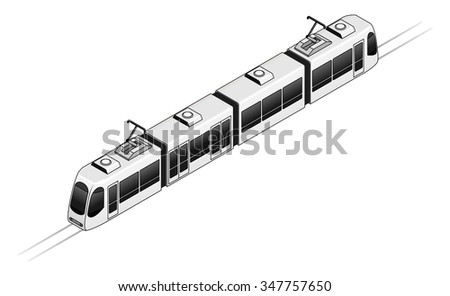 A tram or light rail public transport vehicle. - stock vector