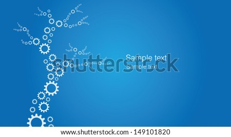 A tree designed from many gearwheel silhouettes - stock vector