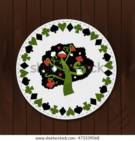 Tree - Drink Coaster from Wonderland Forest or Garden on Wooden ...