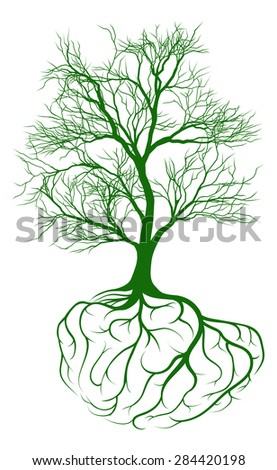 A tree growing from rooots shaped like a human brain - stock vector