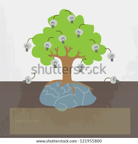 A tree growing from the  brain - stock vector