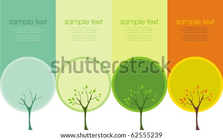 A tree in four different seasons (spring, summer, winter and fall) - stock vector