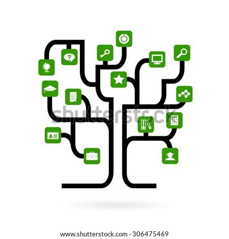 Tree Form Roads Green Icons Symbols Stock Photo Photo Vector