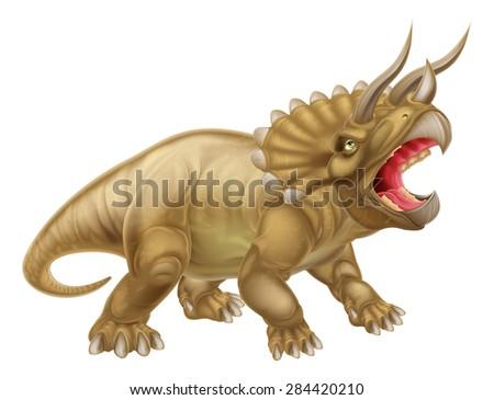 A triceratops three horned dinosaur illustration - stock vector