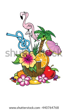 A Tropical drink in a coconut cup. - stock vector
