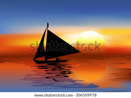 A Tropical Landscape Sunset with a boat