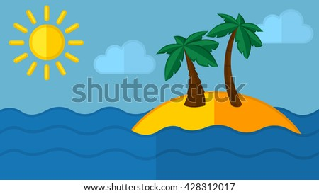A tropical sea island with palm trees and sun. Vector flat design illustration.
