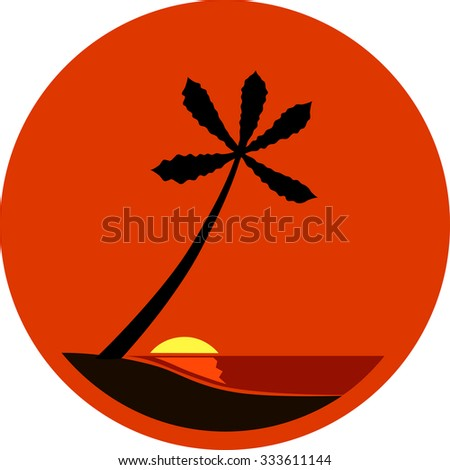 A Tropical Sunset, Sunrise with Palm Tree Vector illustration